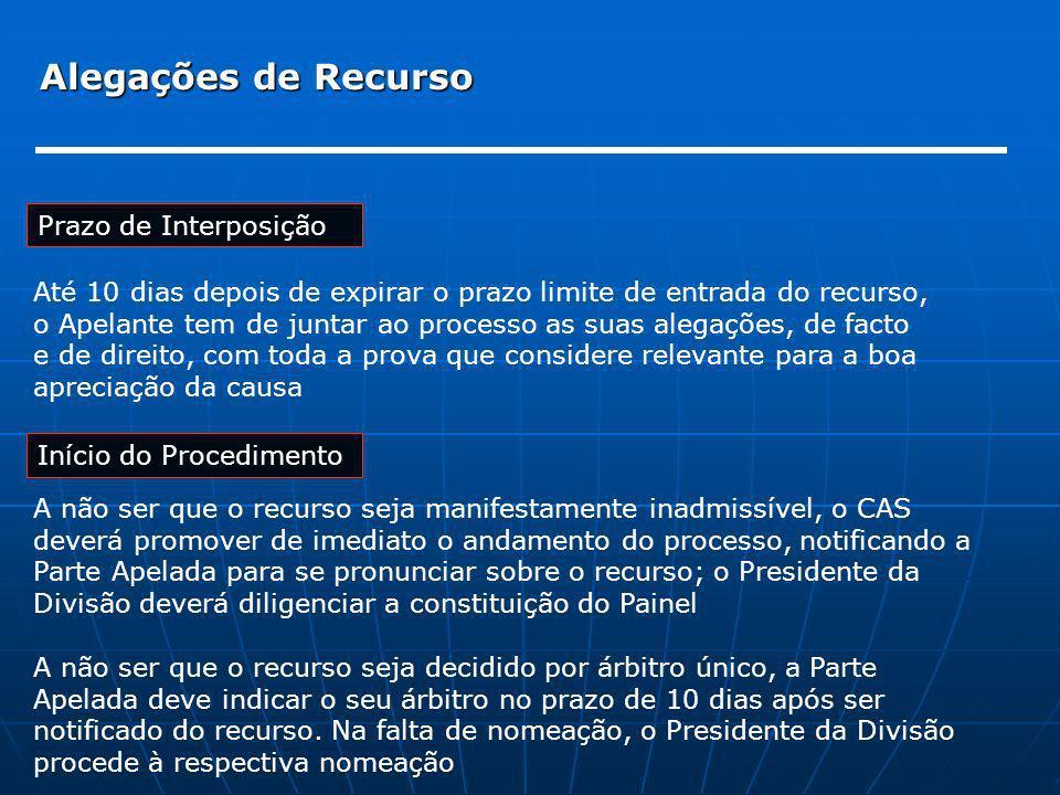 Alegações de Recurso Início do Procedimento A não ser que o recurso seja manifestamente inadmissível, o CAS deverá promover de imediato o andamento do
