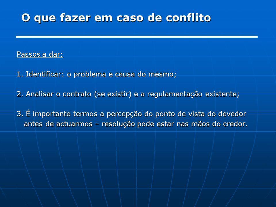O que fazer em caso de conflito Passos a dar: 1. Identificar: o problema e causa do mesmo; 2. Analisar o contrato (se existir) e a regulamentação exis
