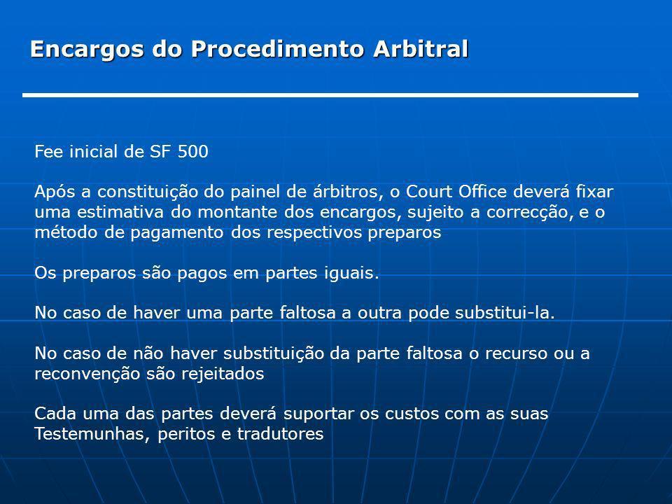 Encargos do Procedimento Arbitral Fee inicial de SF 500 Após a constituição do painel de árbitros, o Court Office deverá fixar uma estimativa do monta