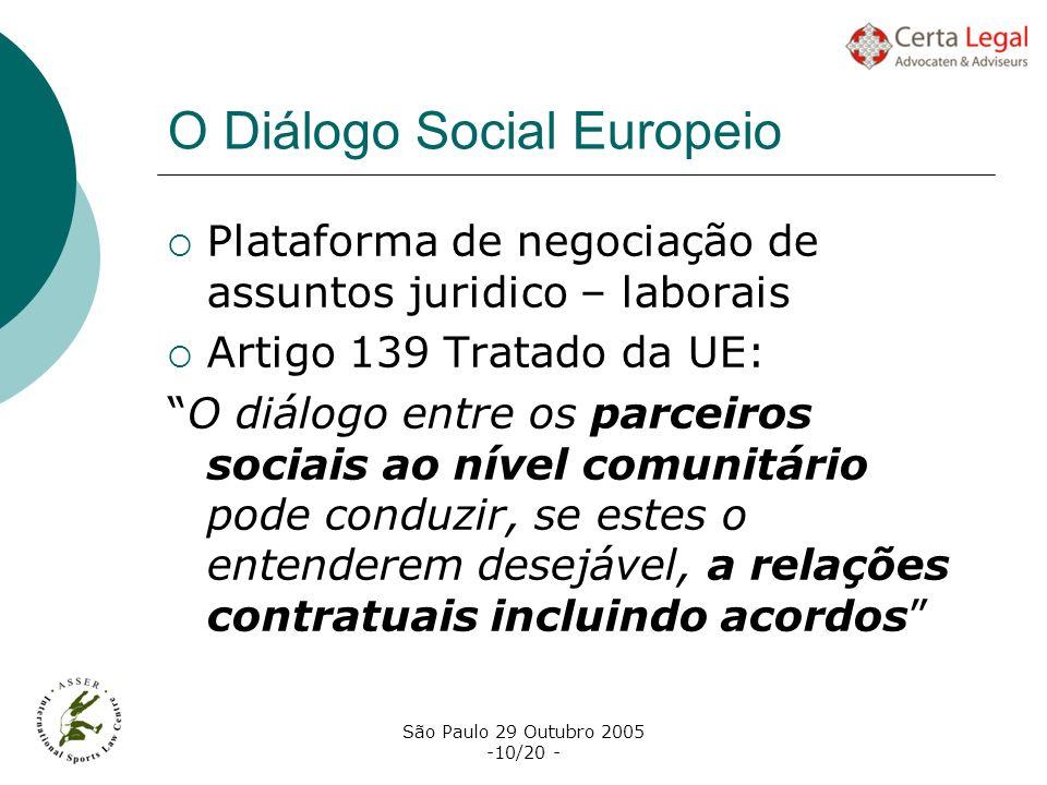 São Paulo 29 Outubro 2005 -10/20 - O Diálogo Social Europeio Plataforma de negociação de assuntos juridico – laborais Artigo 139 Tratado da UE: O diál