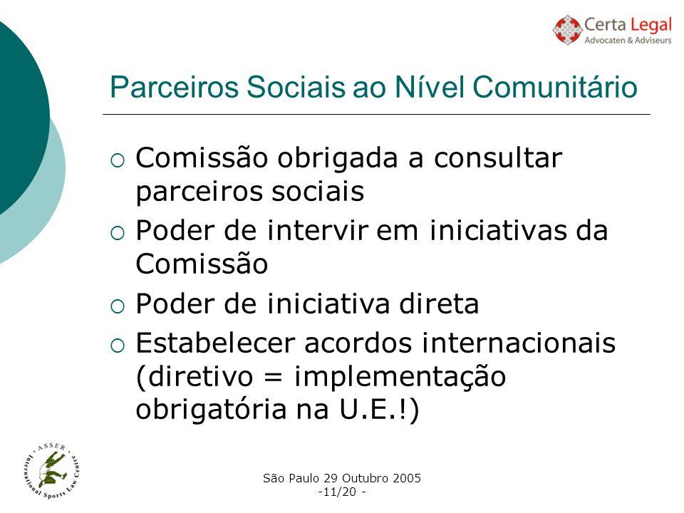 São Paulo 29 Outubro 2005 -11/20 - Parceiros Sociais ao Nível Comunitário Comissão obrigada a consultar parceiros sociais Poder de intervir em iniciat