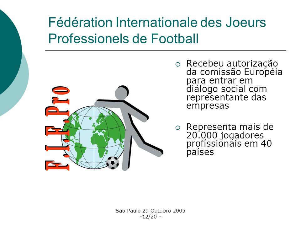 São Paulo 29 Outubro 2005 -12/20 - Fédération Internationale des Joeurs Professionels de Football Recebeu autorização da comissão Européia para entrar