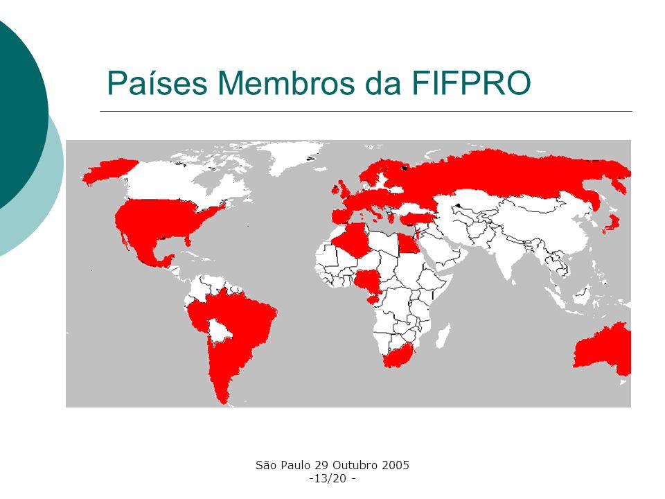 São Paulo 29 Outubro 2005 -13/20 - Países Membros da FIFPRO