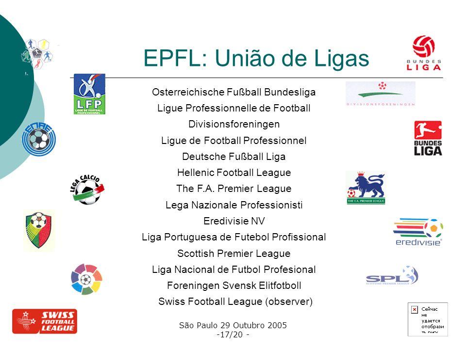 São Paulo 29 Outubro 2005 -17/20 - EPFL: União de Ligas Osterreichische Fußball Bundesliga Ligue Professionnelle de Football Divisionsforeningen Ligue