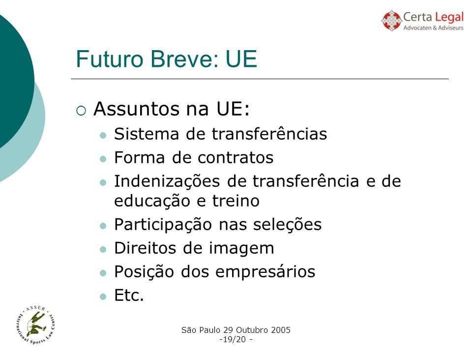 São Paulo 29 Outubro 2005 -19/20 - Futuro Breve: UE Assuntos na UE: Sistema de transferências Forma de contratos Indenizações de transferência e de ed