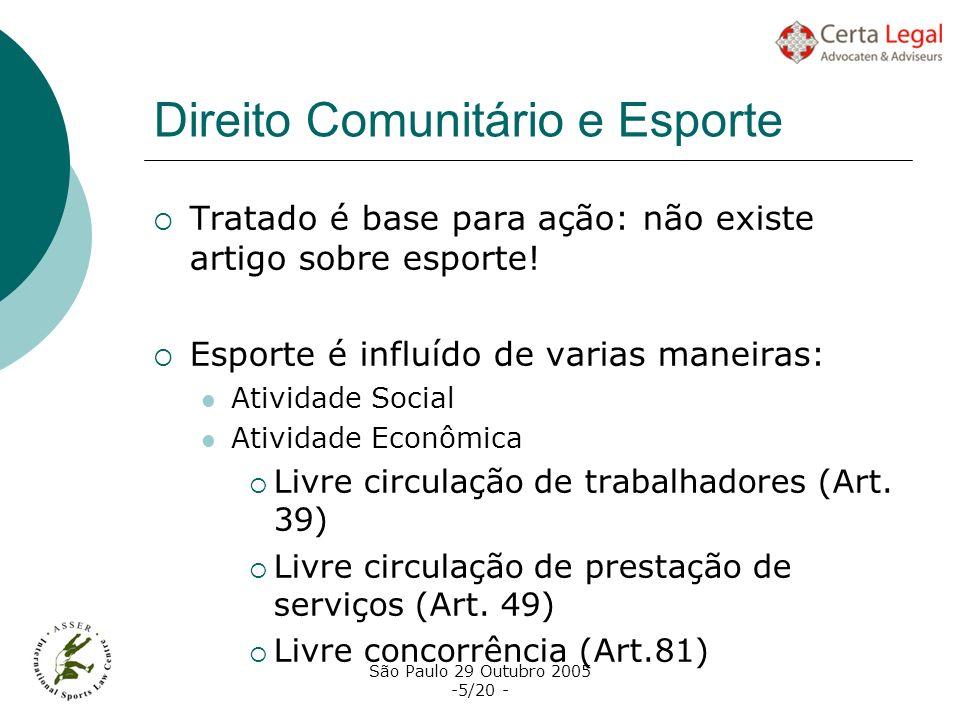 São Paulo 29 Outubro 2005 -5/20 - Direito Comunitário e Esporte Tratado é base para ação: não existe artigo sobre esporte! Esporte é influído de varia