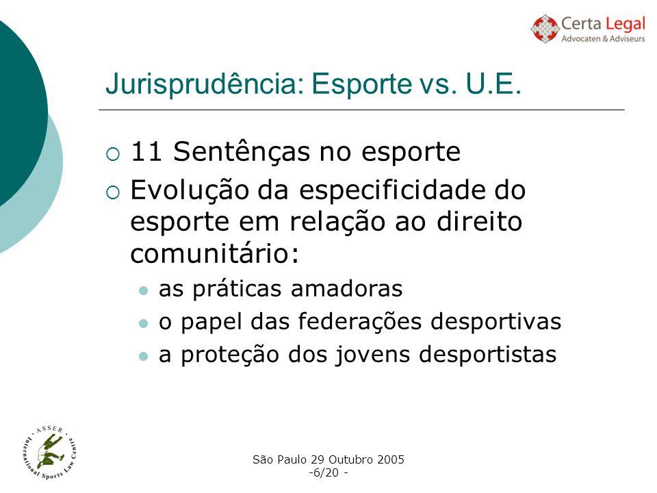São Paulo 29 Outubro 2005 -6/20 - Jurisprudência: Esporte vs. U.E. 11 Sentênças no esporte Evolução da especificidade do esporte em relação ao direito