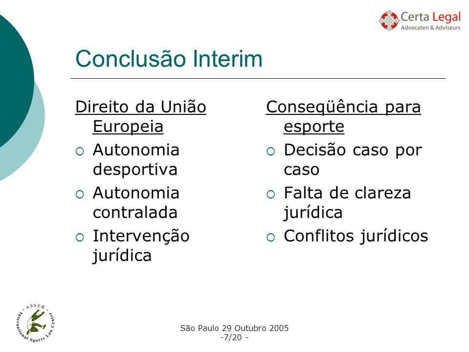 São Paulo 29 Outubro 2005 -7/20 - Conclusão Interim Direito da União Europeia Autonomia desportiva Autonomia contralada Intervenção jurídica Conseqüên
