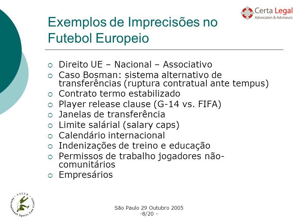 São Paulo 29 Outubro 2005 -8/20 - Exemplos de Imprecisões no Futebol Europeio Direito UE – Nacional – Associativo Caso Bosman: sistema alternativo de