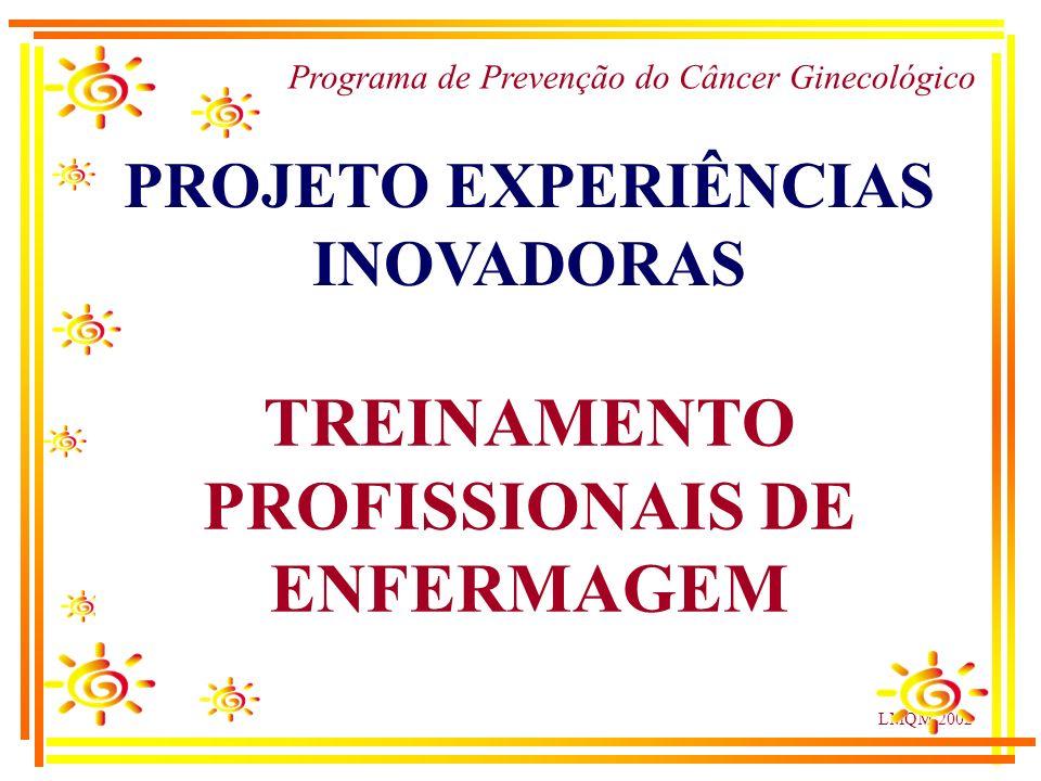 LMQM-2002 Programa de Prevenção do Câncer Ginecológico PROJETO EXPERIÊNCIAS INOVADORAS TREINAMENTO PROFISSIONAIS DE ENFERMAGEM