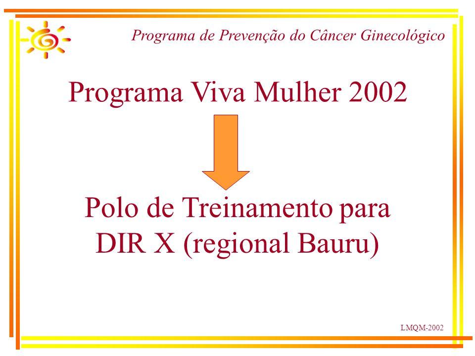 LMQM-2002 Programa de Prevenção do Câncer Ginecológico Programa Viva Mulher 2002 Polo de Treinamento para DIR X (regional Bauru)