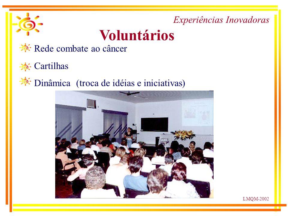 LMQM-2002 Experiências Inovadoras Voluntários Rede combate ao câncer Cartilhas Dinâmica (troca de idéias e iniciativas)