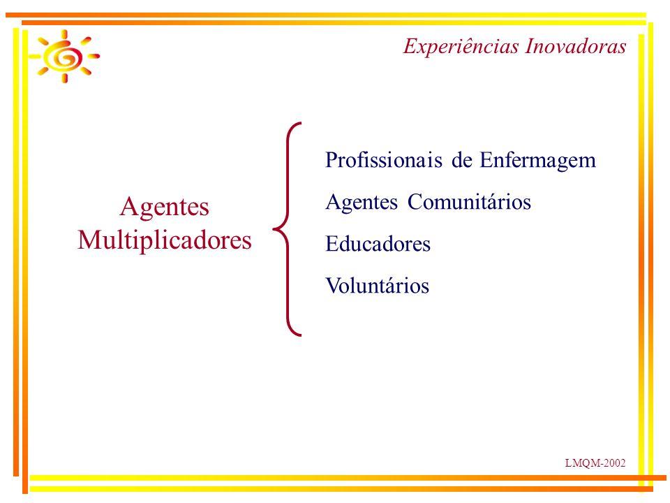 LMQM-2002 Experiências Inovadoras Agentes Multiplicadores Profissionais de Enfermagem Agentes Comunitários Educadores Voluntários