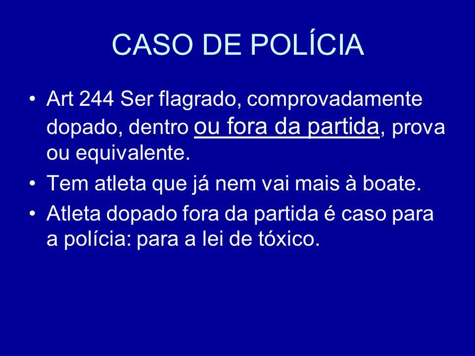 CASO DE POLÍCIA Art 244 Ser flagrado, comprovadamente dopado, dentro ou fora da partida, prova ou equivalente.