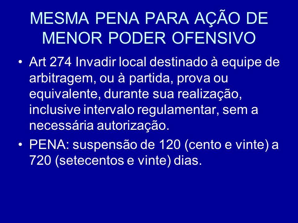 MESMA PENA PARA AÇÃO DE MENOR PODER OFENSIVO Art 274 Invadir local destinado à equipe de arbitragem, ou à partida, prova ou equivalente, durante sua realização, inclusive intervalo regulamentar, sem a necessária autorização.