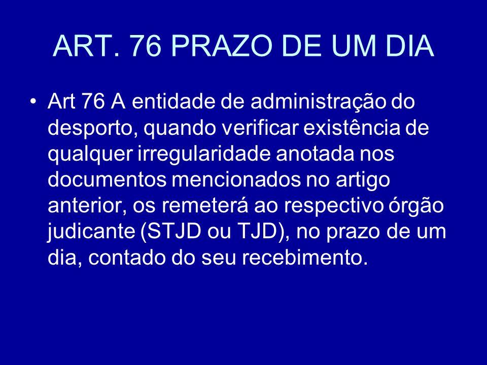 ART. 76 PRAZO DE UM DIA Art 76 A entidade de administração do desporto, quando verificar existência de qualquer irregularidade anotada nos documentos