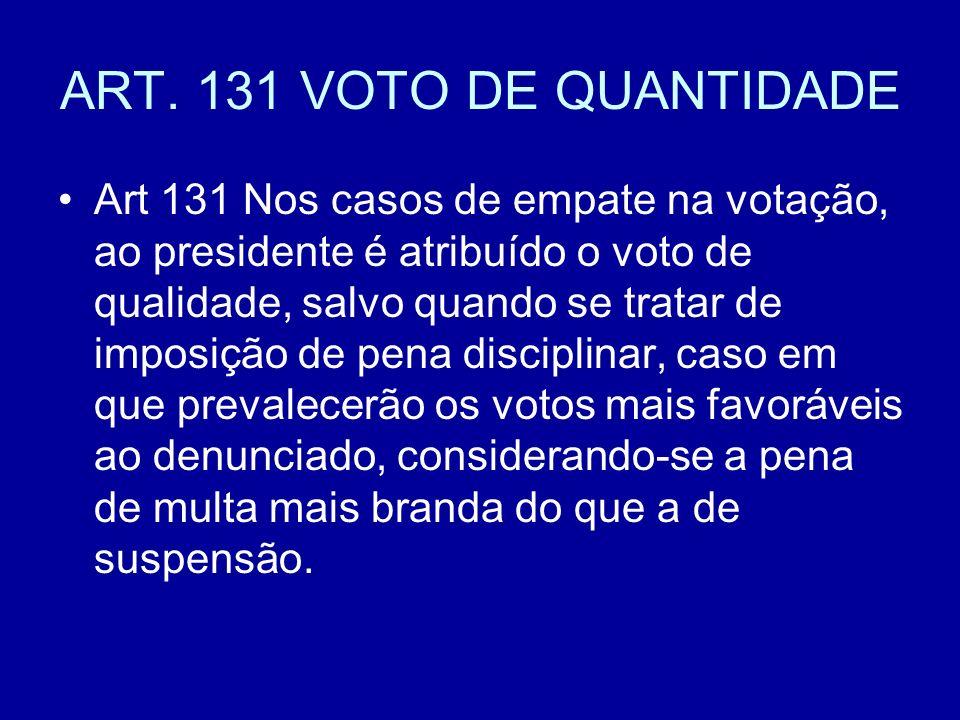 ART. 131 VOTO DE QUANTIDADE Art 131 Nos casos de empate na votação, ao presidente é atribuído o voto de qualidade, salvo quando se tratar de imposição