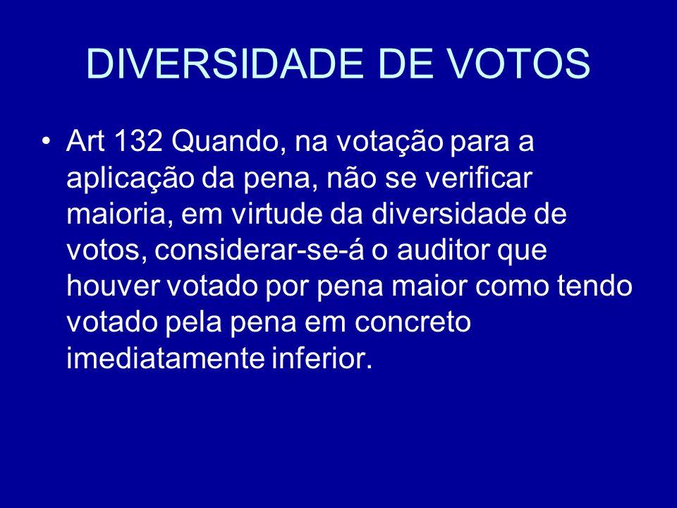 DIVERSIDADE DE VOTOS Art 132 Quando, na votação para a aplicação da pena, não se verificar maioria, em virtude da diversidade de votos, considerar-se-á o auditor que houver votado por pena maior como tendo votado pela pena em concreto imediatamente inferior.