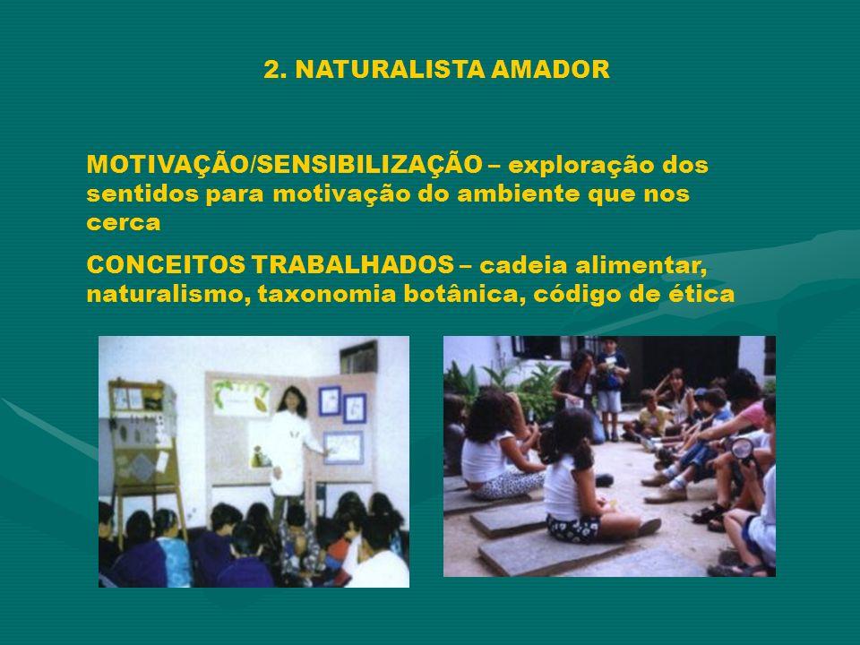 2. NATURALISTA AMADOR MOTIVAÇÃO/SENSIBILIZAÇÃO – exploração dos sentidos para motivação do ambiente que nos cerca CONCEITOS TRABALHADOS – cadeia alime