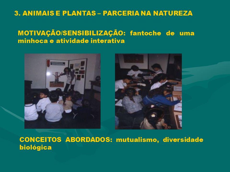 3. ANIMAIS E PLANTAS – PARCERIA NA NATUREZA MOTIVAÇÃO/SENSIBILIZAÇÃO: fantoche de uma minhoca e atividade interativa CONCEITOS ABORDADOS: mutualismo,