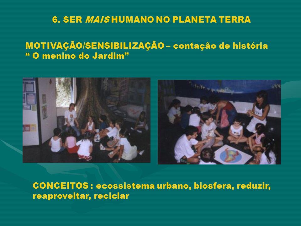 6. SER MAIS HUMANO NO PLANETA TERRA MOTIVAÇÃO/SENSIBILIZAÇÃO – contação de história O menino do Jardim CONCEITOS : ecossistema urbano, biosfera, reduz
