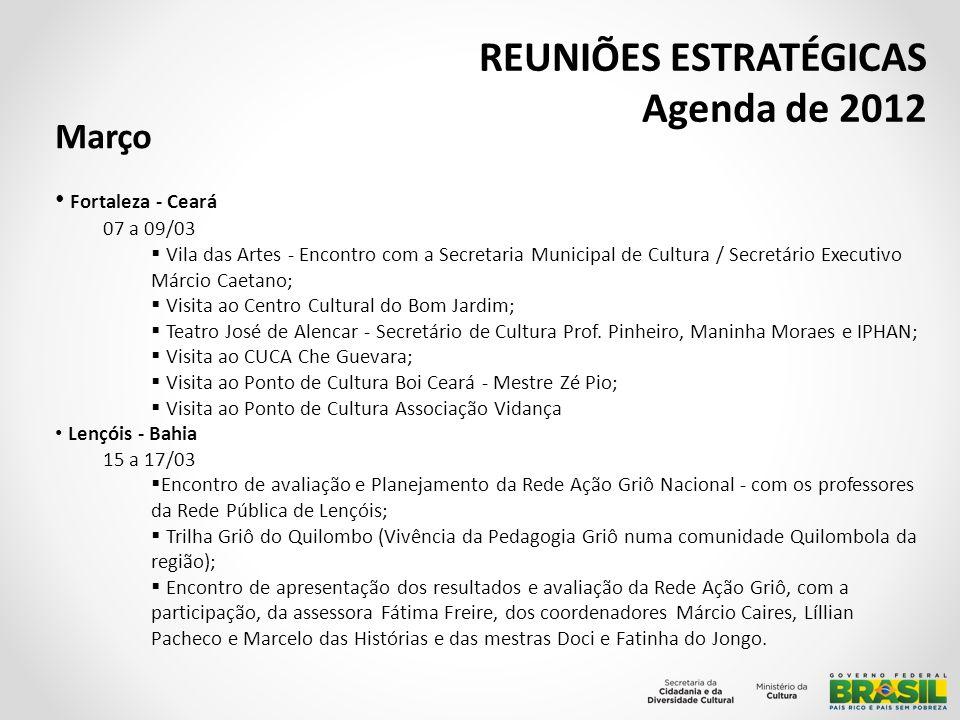 REUNIÕES ESTRATÉGICAS Agenda de 2012 Março Aracaju - Sergipe 29 a 30/03 1° Reunião Ordinária de 2012 do Fórum Nacional dos Secretários e Dirigentes de Cultura: o Abertura da reunião com Presidente da Funcaju Sr.