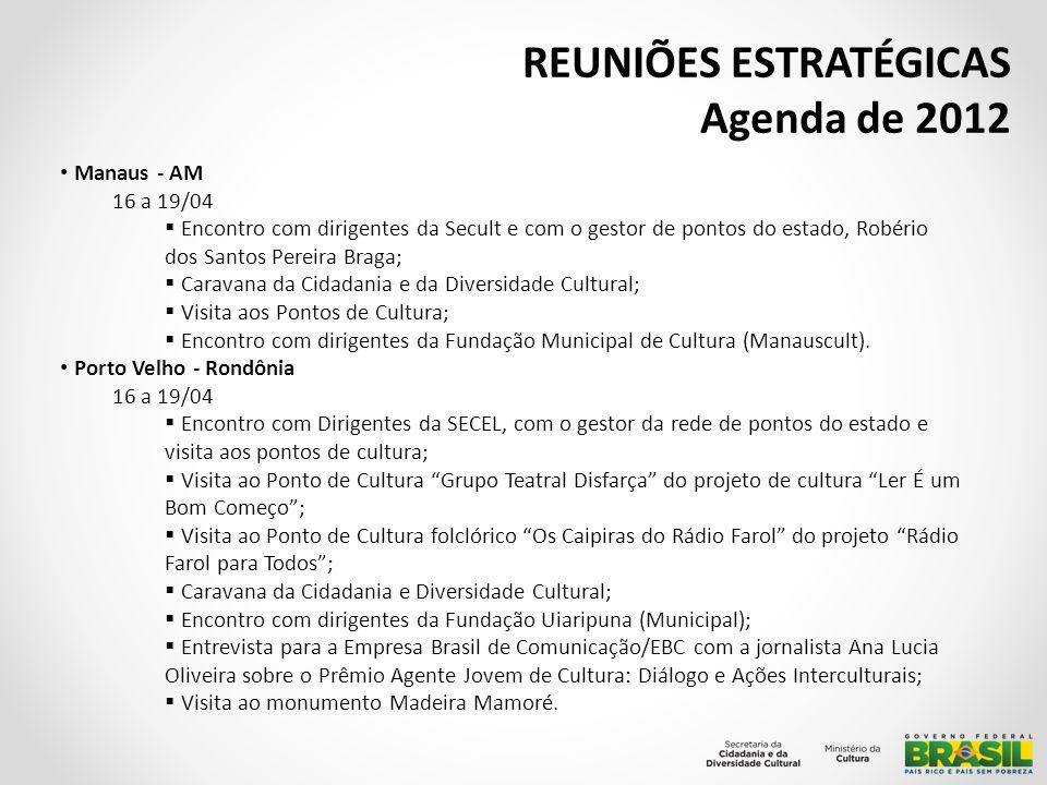 REUNIÕES ESTRATÉGICAS Agenda de 2012 Rio de Janeiro 12/04 Reunião com o cineasta Joelzito sobre o lançamento do filme junto aos remanescentes de quilombos e a pontos de cultura; Participação na Mesa de Lançamento do projeto Pontos de Leitura da Ancestralidade Africana no Brasil.