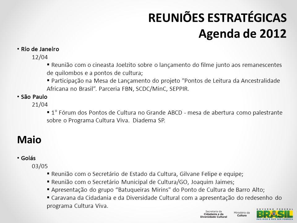 REUNIÕES ESTRATÉGICAS Agenda de 2012 Rio de Janeiro 07 a 08/05 Reunião com a FUNARTE – copm a a Diretora de Programa/SE, Renata Monteiro; Visita técnica e reuniões com a equipe de produção no Galpão da Cidadania e no Armazém da Utopia; Reunião FBN com a Ângela Fatorelli e Vera Saboya, superintendente de Leitura e Conhecimento da Secretaria de Cultura do Rio de Janeiro; 24 a 25/05 XIV Cruzada Nacional pela Paz Mundial – 24 de maio - Dia do Cigano; Participação na abertura Políticas Públicas e os Povos de Cultura Cigana liderada pela Seppir com a parceria da SCDC?minC; Visita ao Galpão da Cidadania.