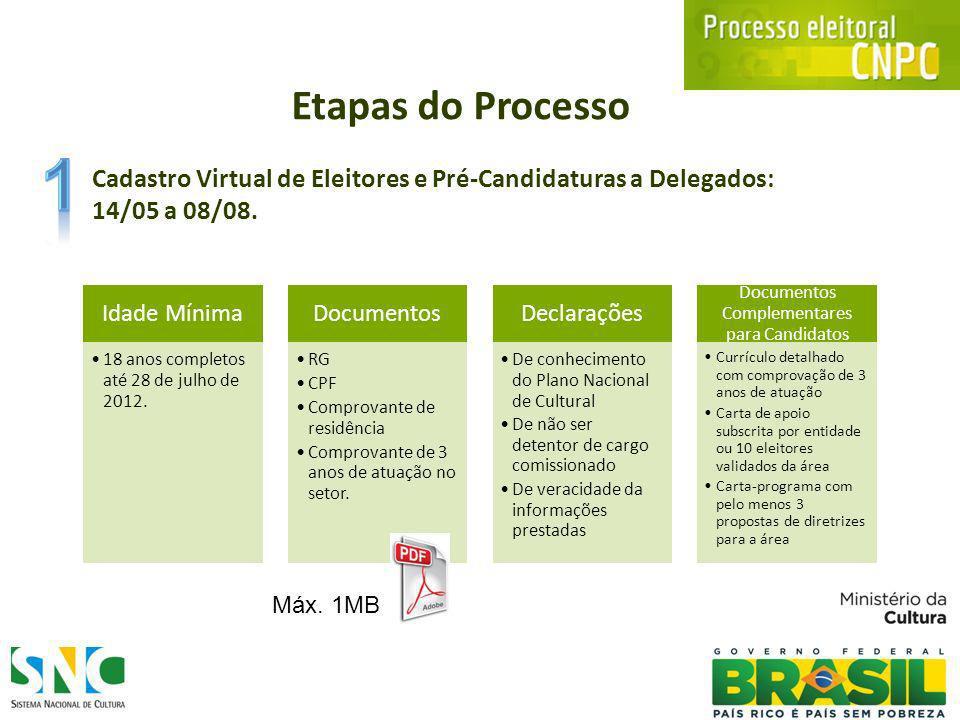 Cadastro Virtual de Eleitores e Pré-Candidaturas a Delegados: 14/05 a 08/08.
