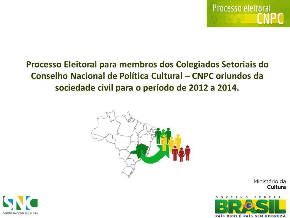 Marco Legal Estabelece o processo eleitoral para os Colegiados Setoriais do Conselho Nacional de Política Cultural para o período de 2012 a 2014.