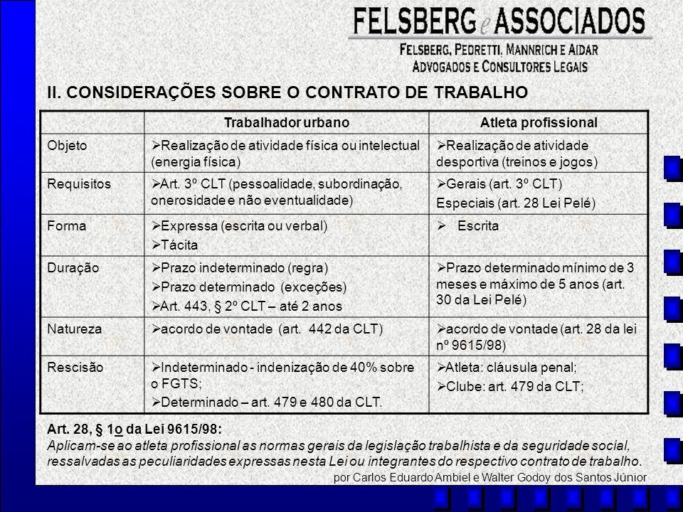 II. CONSIDERAÇÕES SOBRE O CONTRATO DE TRABALHO Trabalhador urbanoAtleta profissional Objeto Realização de atividade física ou intelectual (energia fís