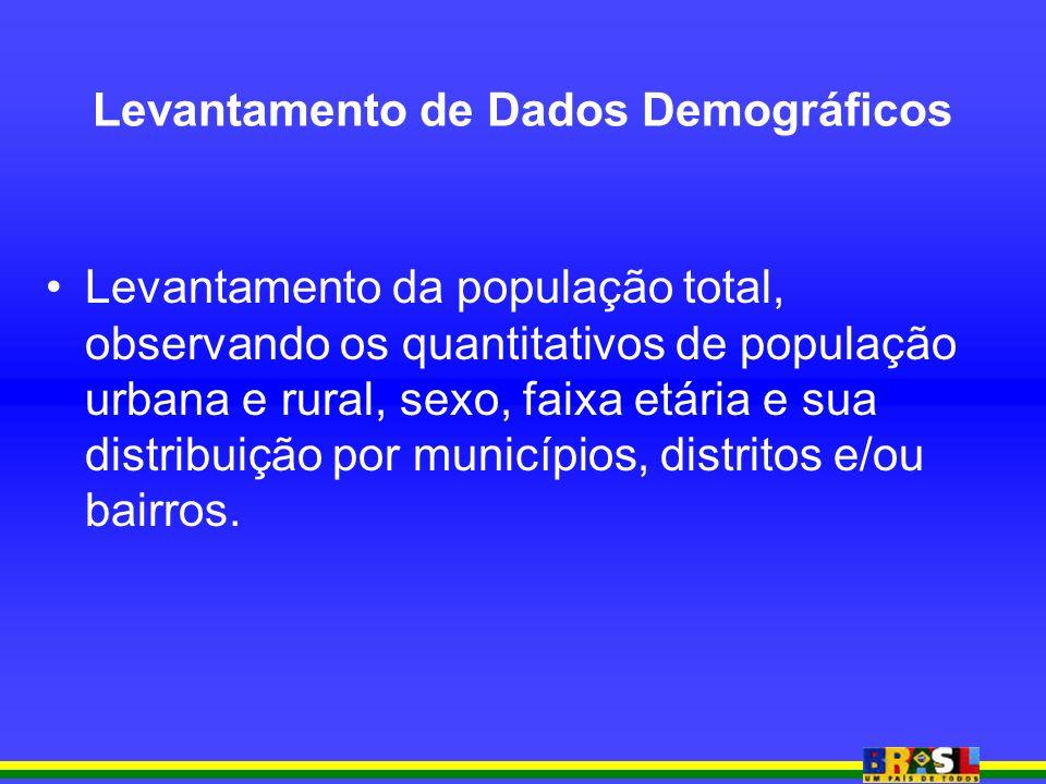 Levantamento da população total, observando os quantitativos de população urbana e rural, sexo, faixa etária e sua distribuição por municípios, distritos e/ou bairros.