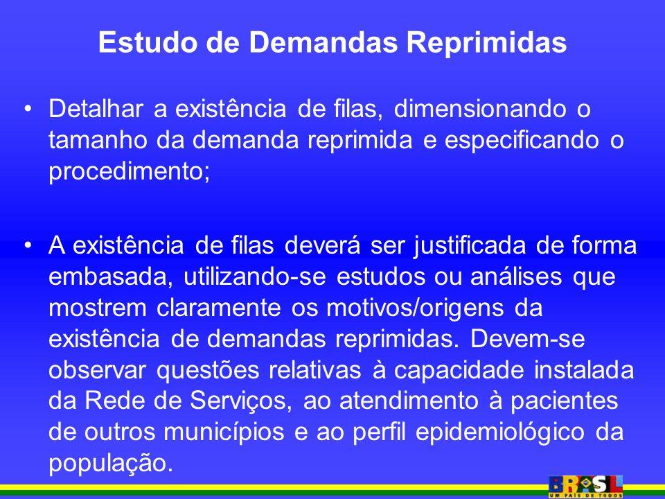 Estudo de Demandas Reprimidas Detalhar a existência de filas, dimensionando o tamanho da demanda reprimida e especificando o procedimento; A existênci