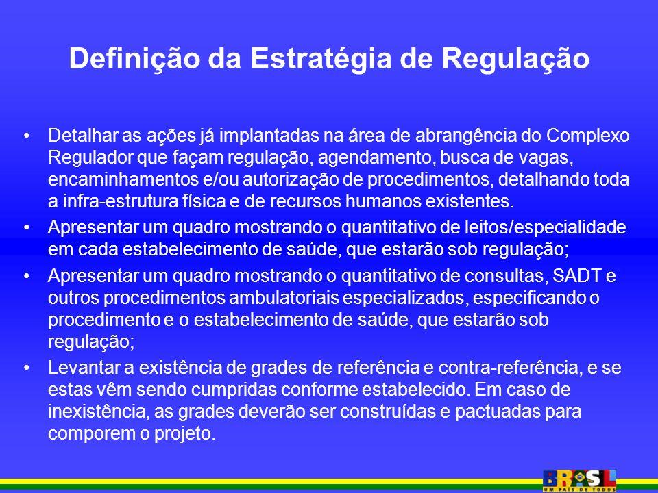 Definição da Estratégia de Regulação Detalhar as ações já implantadas na área de abrangência do Complexo Regulador que façam regulação, agendamento, busca de vagas, encaminhamentos e/ou autorização de procedimentos, detalhando toda a infra-estrutura física e de recursos humanos existentes.