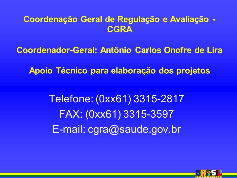 Coordenação Geral de Regulação e Avaliação - CGRA Coordenador-Geral: Antônio Carlos Onofre de Lira Apoio Técnico para elaboração dos projetos Telefone