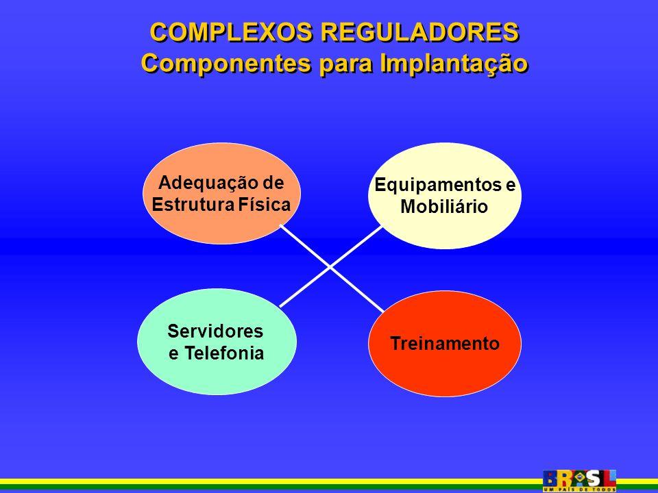 Adequação de Estrutura Física Equipamentos e Mobiliário Servidores e Telefonia Treinamento COMPLEXOS REGULADORES Componentes para Implantação COMPLEXOS REGULADORES Componentes para Implantação