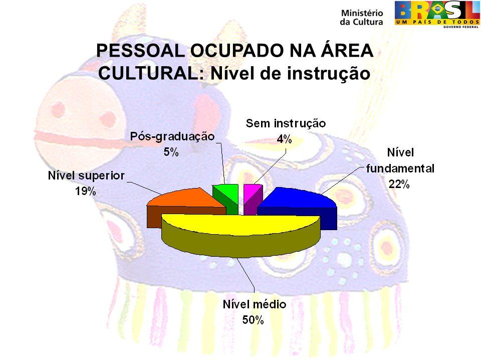 PESSOAL OCUPADO NA ÁREA CULTURAL: Nível de instrução