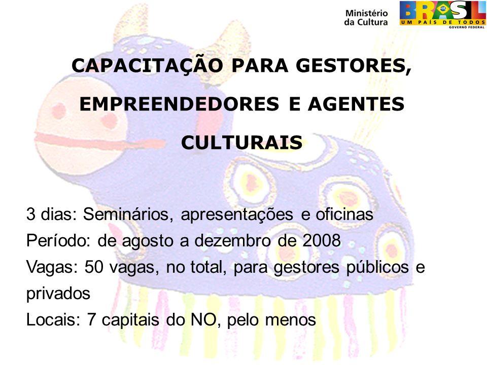 CAPACITAÇÃO PARA GESTORES, EMPREENDEDORES E AGENTES CULTURAIS 3 dias: Seminários, apresentações e oficinas Período: de agosto a dezembro de 2008 Vagas