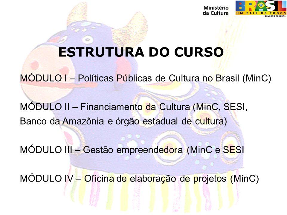 ESTRUTURA DO CURSO MÓDULO I – Políticas Públicas de Cultura no Brasil (MinC) MÓDULO II – Financiamento da Cultura (MinC, SESI, Banco da Amazônia e órgão estadual de cultura) MÓDULO III – Gestão empreendedora (MinC e SESI MÓDULO IV – Oficina de elaboração de projetos (MinC)
