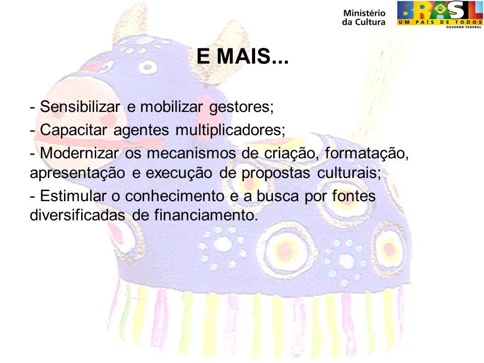 E MAIS... - Sensibilizar e mobilizar gestores; - Capacitar agentes multiplicadores; - Modernizar os mecanismos de criação, formatação, apresentação e