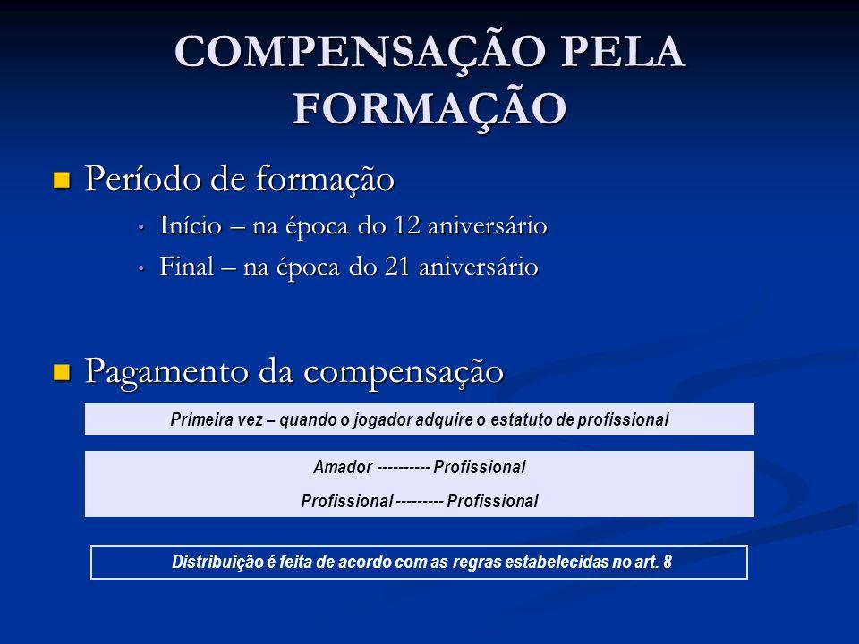 COMPENSAÇÃO PELA FORMAÇÃO Período de formação Período de formação Início – na época do 12 aniversário Início – na época do 12 aniversário Final – na é
