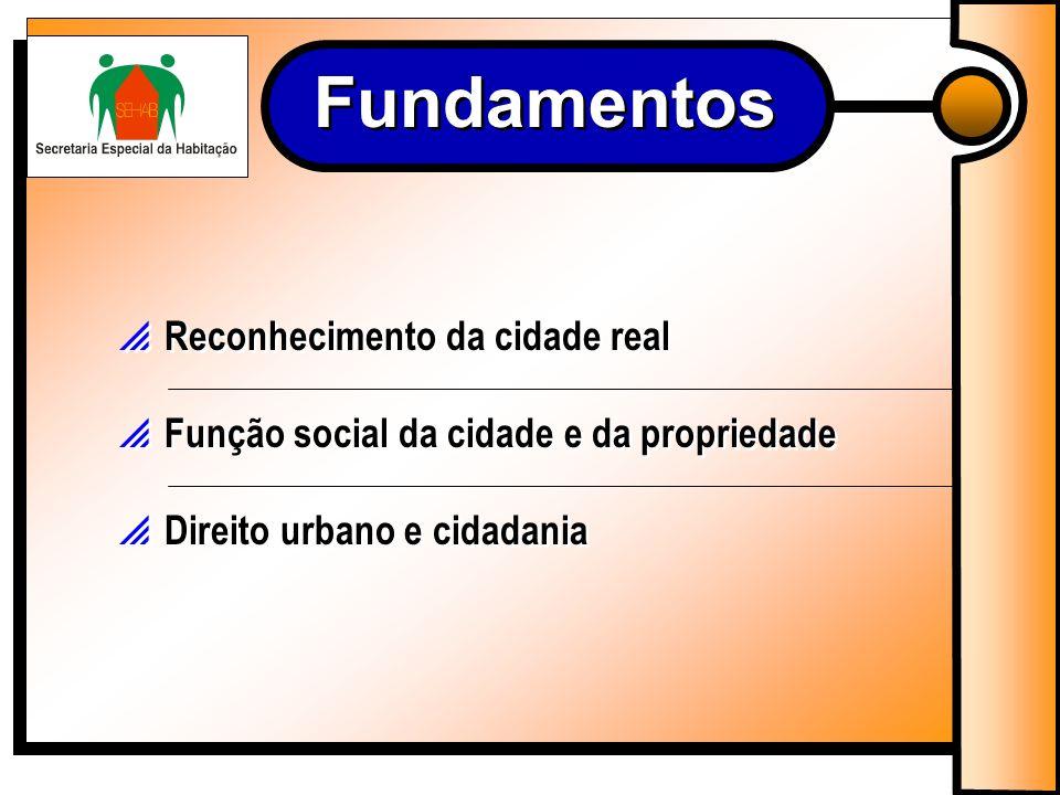 Fundamentos Reconhecimento da cidade real Função social da cidade e da propriedade Direito urbano e cidadania