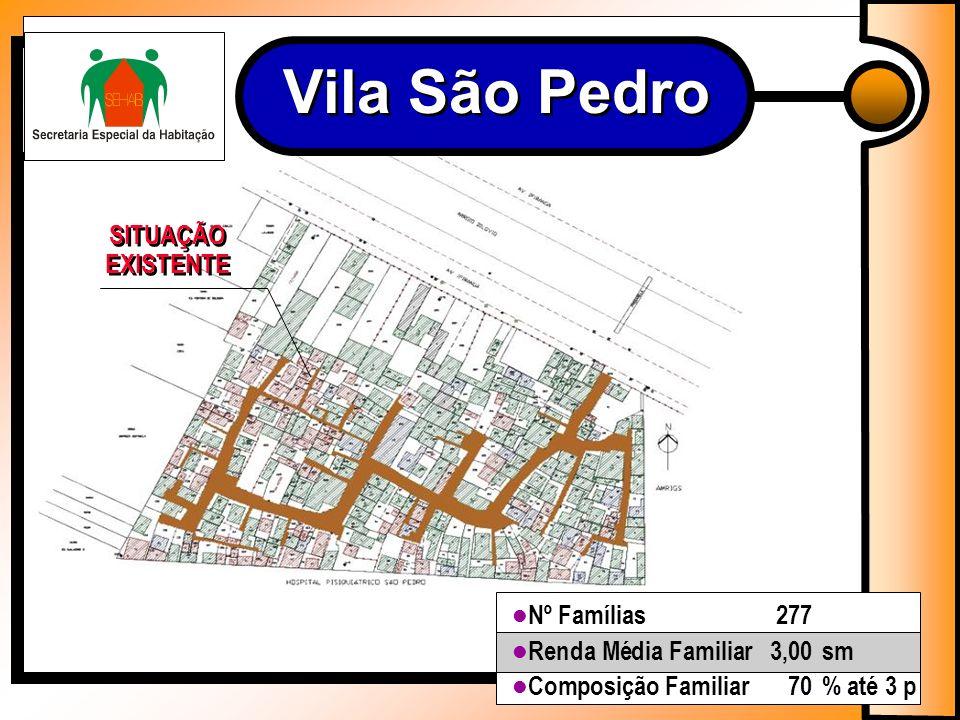 Nº Famílias277 Renda Média Familiar3,00sm Composição Familiar70% até 3 p Vila São Pedro SITUAÇÃO EXISTENTE