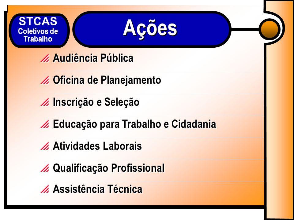 STCAS Coletivos de Trabalho Audiência Pública Oficina de Planejamento Inscrição e Seleção Educação para Trabalho e Cidadania Atividades Laborais Qualificação Profissional Assistência Técnica Ações