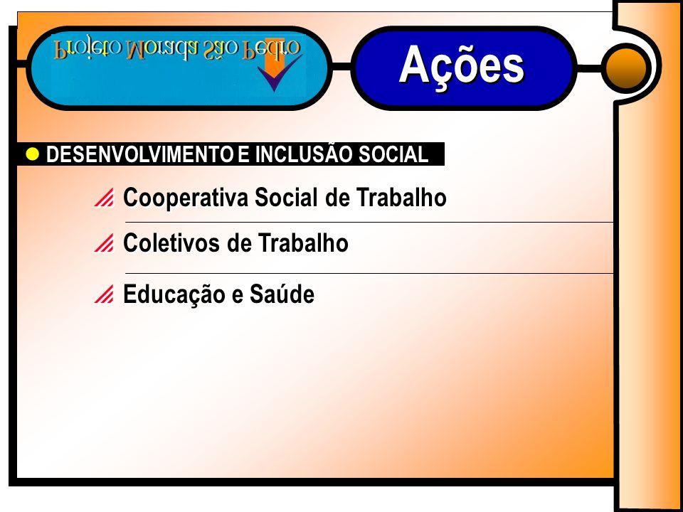 Cooperativa Social de Trabalho Coletivos de Trabalho DESENVOLVIMENTO E INCLUSÃO SOCIAL Educação e Saúde Ações