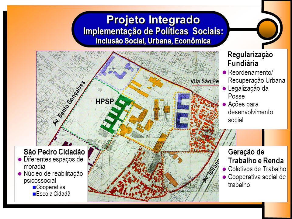Com o objetivo de promover a integração social o projeto busca a reestruturação e requalificação do espaço urbano através do ordenamento do traçado viário, implantação de infra-estrutura e construção de 277 moradias.