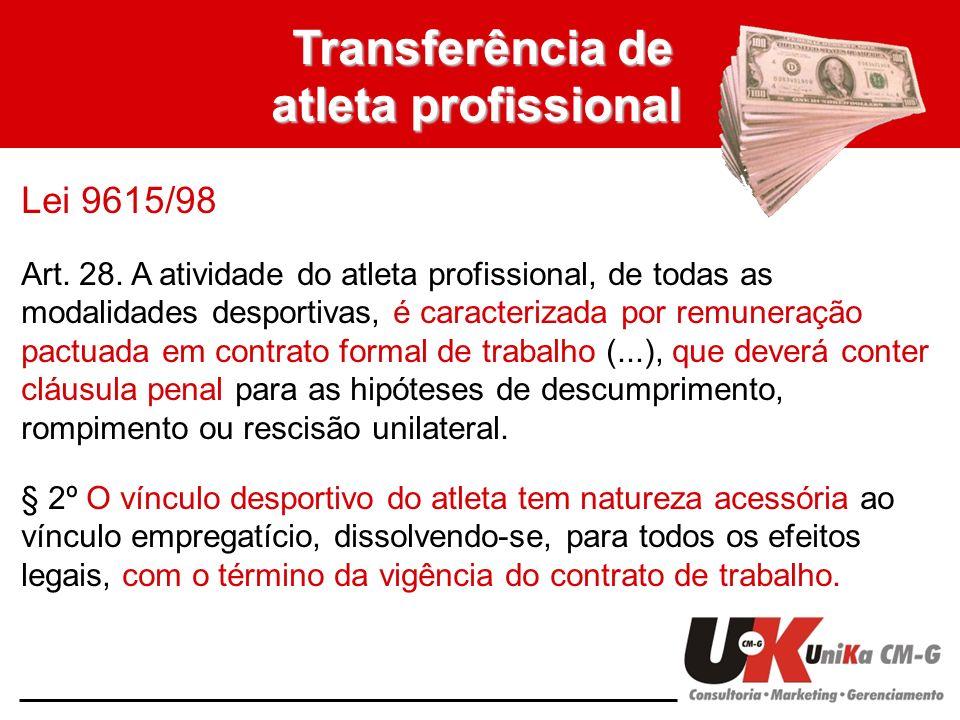 Transferência de atleta profissional Lei 9615/98 Art. 28. A atividade do atleta profissional, de todas as modalidades desportivas, é caracterizada por
