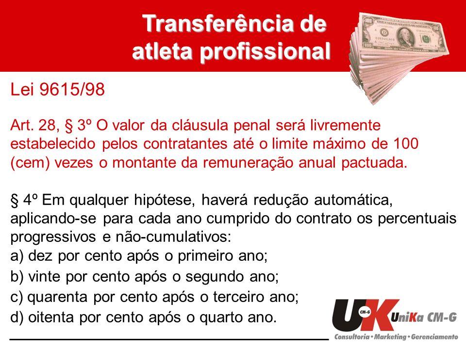 Transferência de atleta profissional Lei 9615/98 Art. 28, § 3º O valor da cláusula penal será livremente estabelecido pelos contratantes até o limite