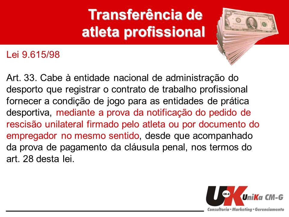 Transferência de atleta profissional Lei 9.615/98 Art. 33. Cabe à entidade nacional de administração do desporto que registrar o contrato de trabalho
