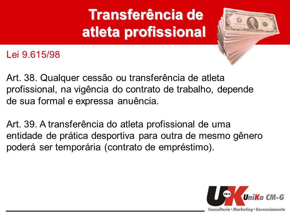 Transferência de atleta profissional Lei 9.615/98 Art. 38. Qualquer cessão ou transferência de atleta profissional, na vigência do contrato de trabalh